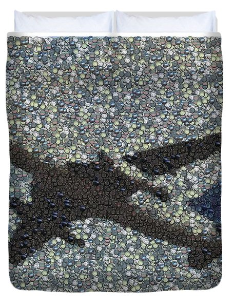Duvet Cover featuring the mixed media Jumbo Jet Airplane Made Of Cockpit Panel Dials Mosaic by Paul Van Scott