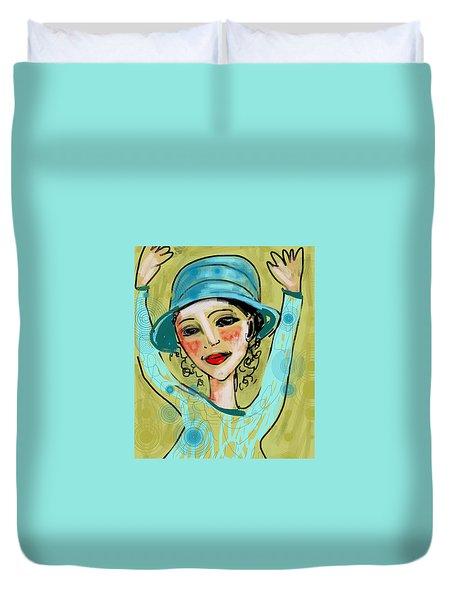 Jump For Joy Duvet Cover by Elaine Lanoue