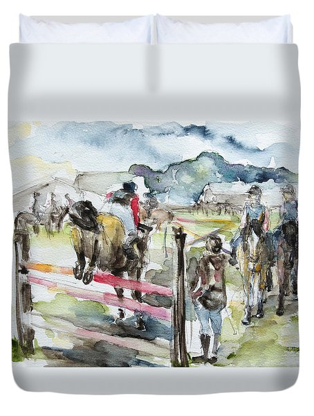 Jumping A Course Duvet Cover by Barbara Pommerenke