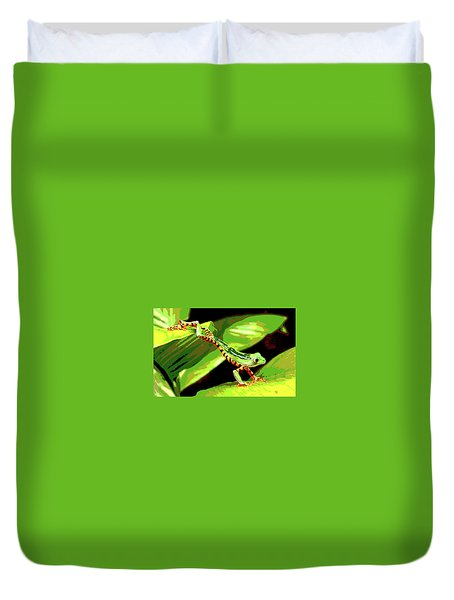 Jumping Frog Duvet Cover by Charles Shoup