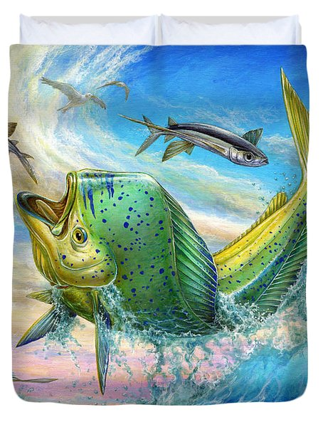 Jumping Mahi Mahi And Flyingfish Duvet Cover
