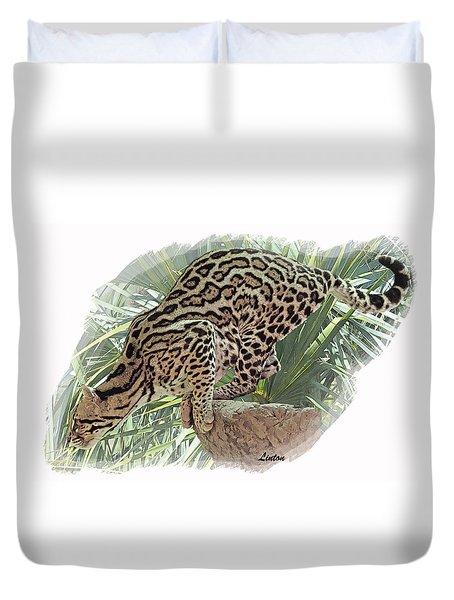 Pouncing Ocelot Duvet Cover