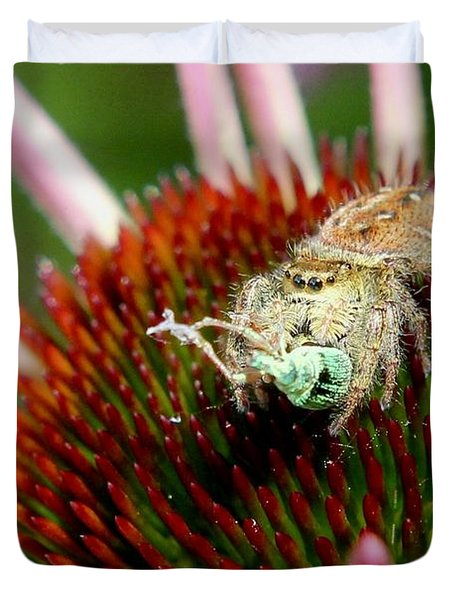 Jumping Spider With Green Weevil Snack Duvet Cover