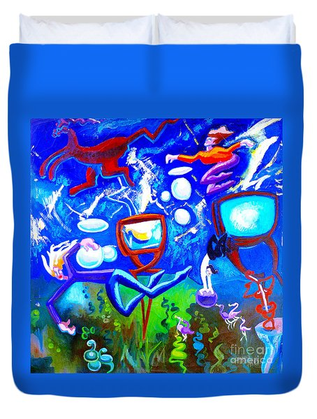 Duvet Cover featuring the painting Jumping Through Tv Land by Genevieve Esson