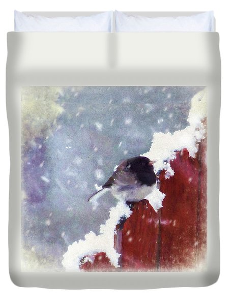 Duvet Cover featuring the digital art Junco In The Snow, Square by Christina Lihani