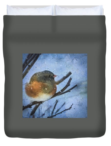 Duvet Cover featuring the digital art Junco On Winter Day by Christina Lihani