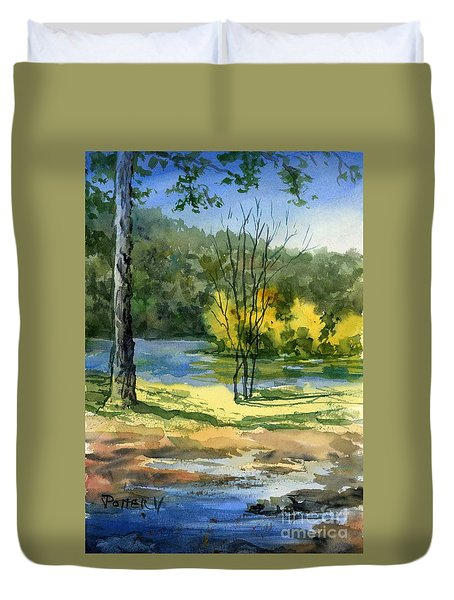 Junction Of White And Spring Rivers Duvet Cover
