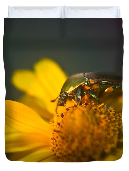 June Beetle Exploring Duvet Cover