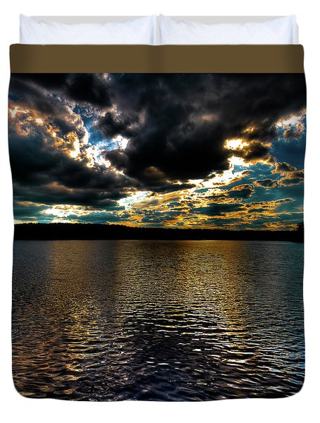 Duvet Cover featuring the photograph June Sunset On Nicks Lake by David Patterson