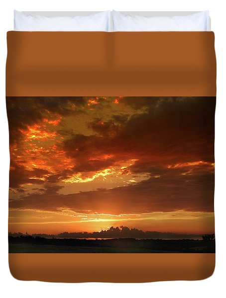 June Sunset Duvet Cover by Rod Seel