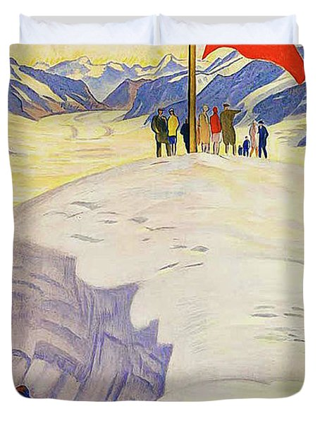 Jungfrau Railway, Bernese Oberland, Switzerland, Vintage Travel Poster Duvet Cover