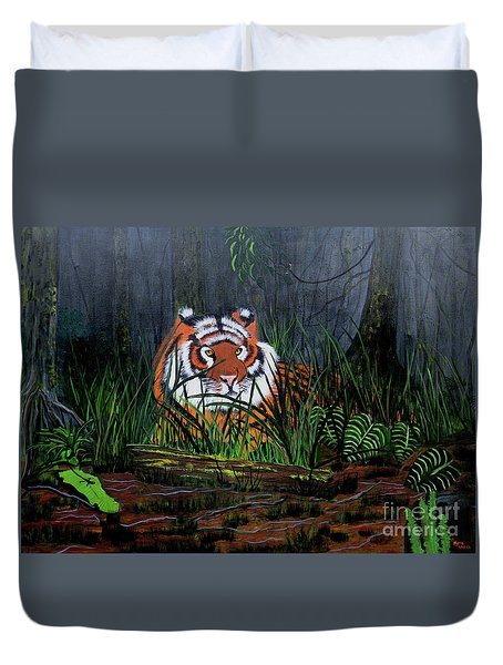 Duvet Cover featuring the painting Jungle Cat by Myrna Walsh