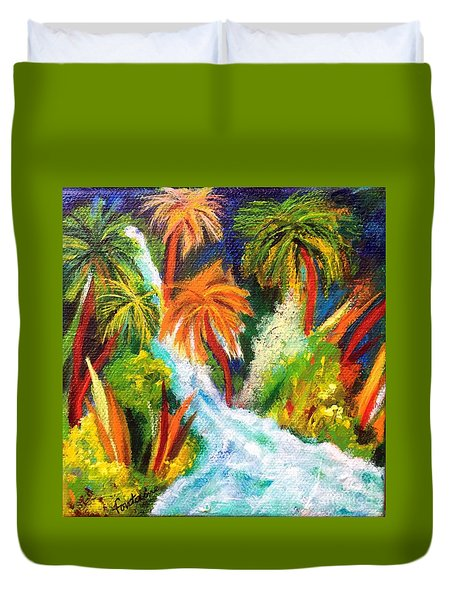 Duvet Cover featuring the painting Jungle Falls by Elizabeth Fontaine-Barr