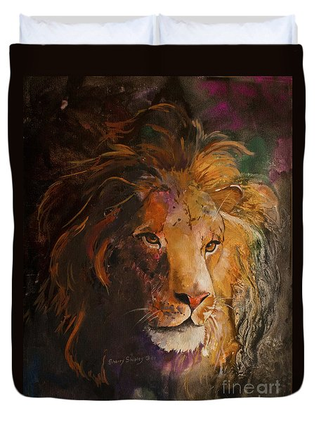 Jungle Lion Duvet Cover by Sherry Shipley