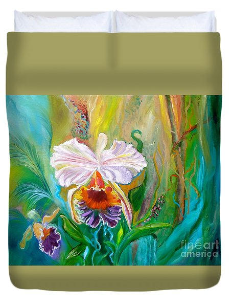 Jungle Orchid Duvet Cover by Jenny Lee