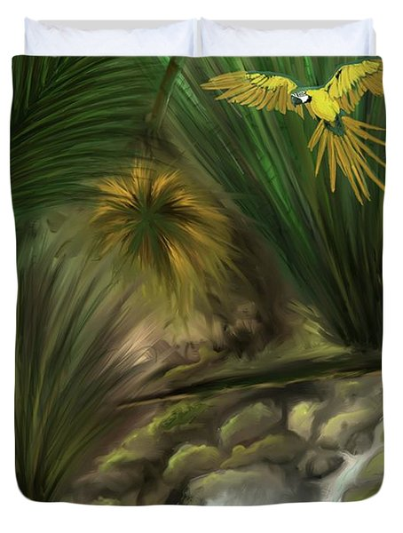 Duvet Cover featuring the digital art Jungle Parrot by Darren Cannell