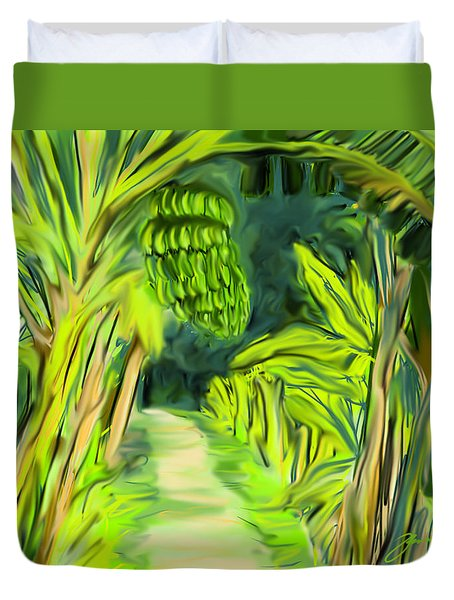 Duvet Cover featuring the digital art Jungle Path by Jean Pacheco Ravinski