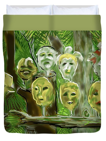 Duvet Cover featuring the digital art Jungle Spirits by Jean Pacheco Ravinski