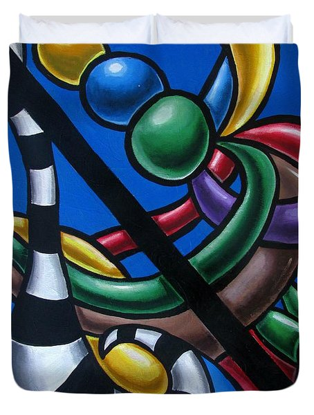Original Colorful Abstract Art Painting - Multicolored Chromatic Artwork Painting Duvet Cover