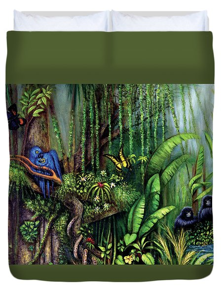Duvet Cover featuring the painting Jungle Talk by Lynn Buettner