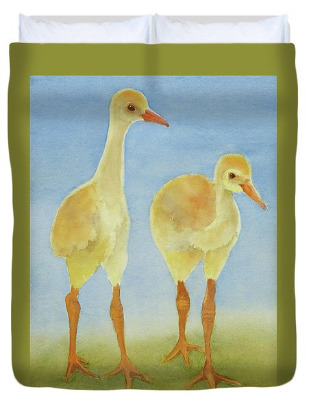 Duvet Cover featuring the painting Junior Birdmen by Judy Mercer
