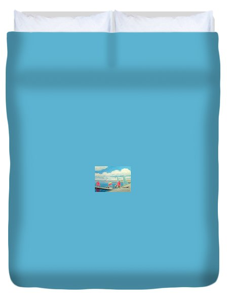 Junior Sailing School, West Kirby Marine Lake Duvet Cover by Peter Farrow