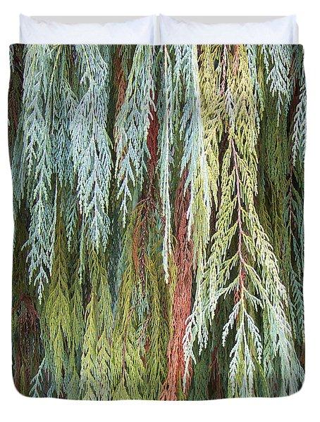 Juniper Leaves - Shades Of Green Duvet Cover by Ben and Raisa Gertsberg