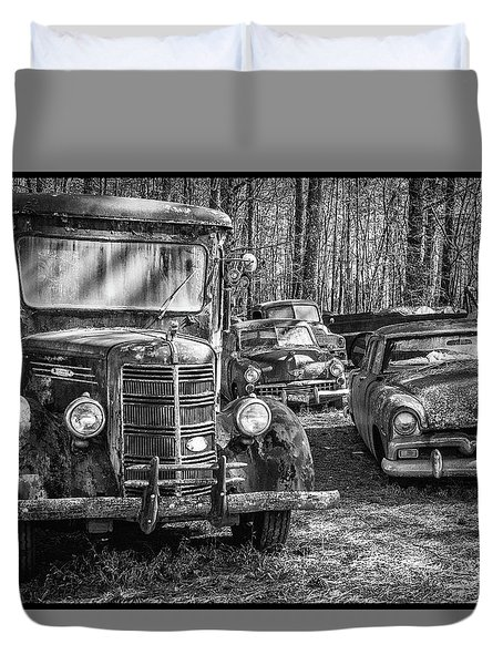Junked Mack Truck Ad Old Plymouth Duvet Cover