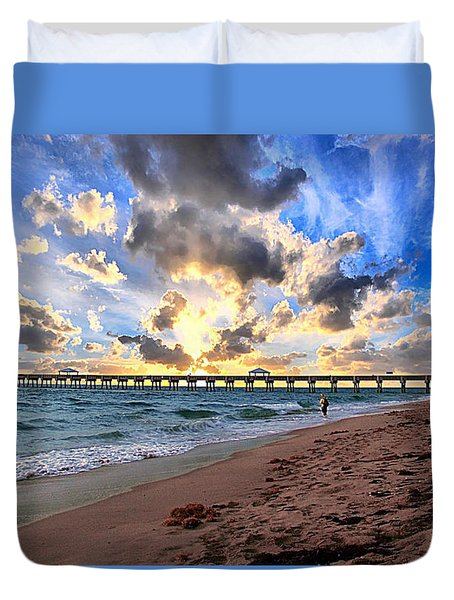 Juno Beach Pier Florida Sunrise Seascape D7 Duvet Cover by Ricardos Creations