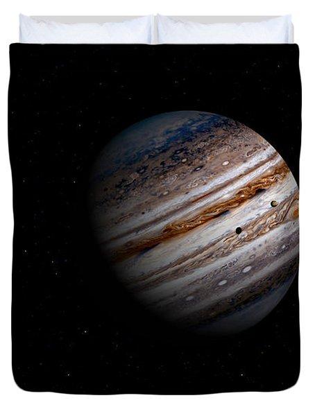 Jupiter And It 4 Major Moons Duvet Cover