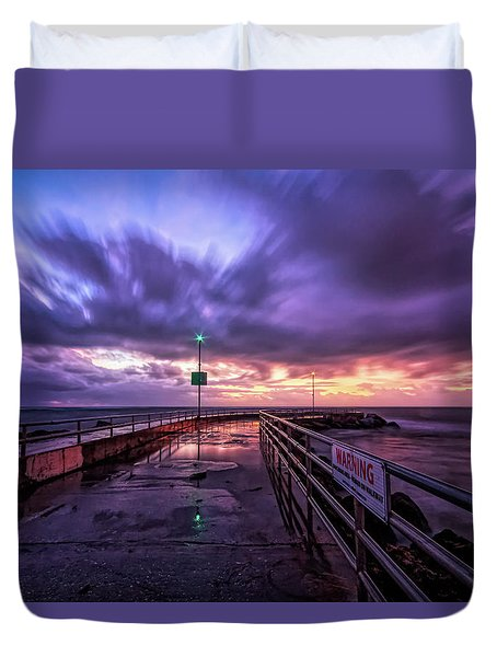 Jupiter Inlet Jetty Duvet Cover