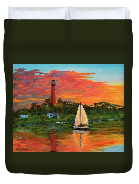 Jupiter Lighthouse Sunrise Alt Duvet Cover