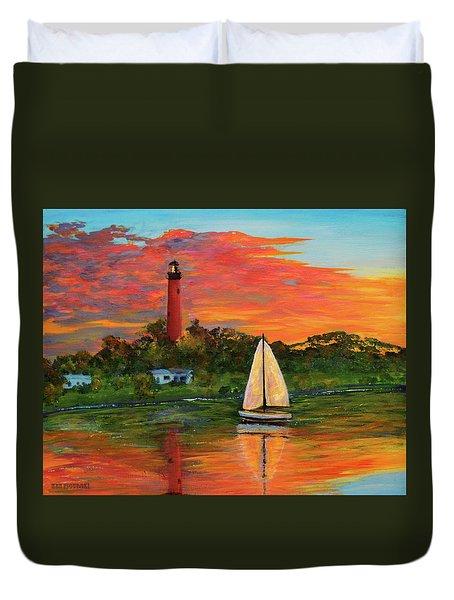 Jupiter Lighthouse Sunrise Alt Duvet Cover