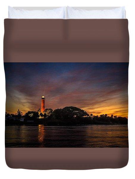 Jupiter Lighthouse Sunrise Duvet Cover