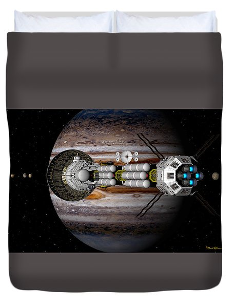 Duvet Cover featuring the digital art Jupiter Looming by David Robinson
