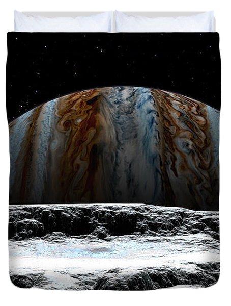 Jupiter Rise At Europa Duvet Cover