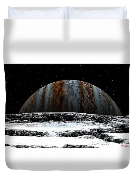 Duvet Cover featuring the digital art Jupiter Rise At Europa by David Robinson