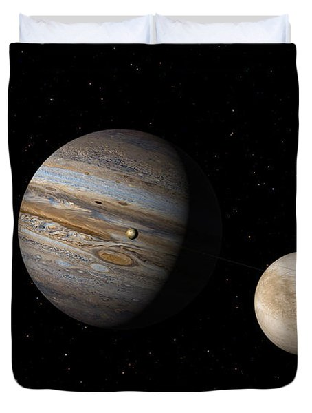 Jupiter With Io And Europa Duvet Cover
