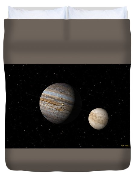 Duvet Cover featuring the digital art Jupiter With Io And Europa by David Robinson