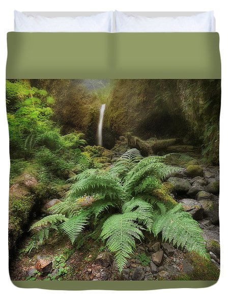 Jurassic Forest Duvet Cover by David Gn