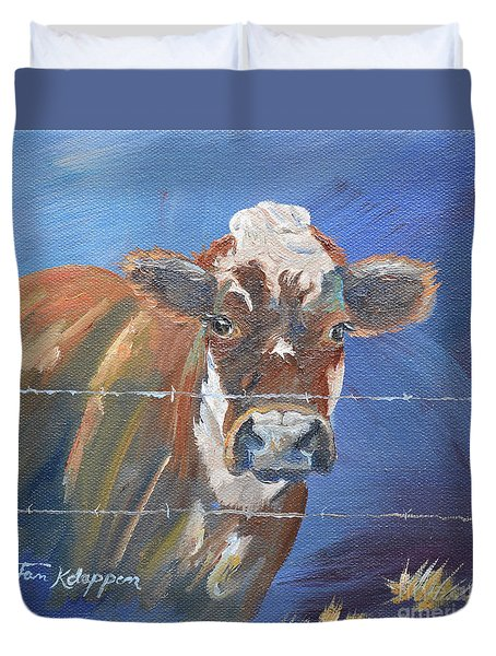 Duvet Cover featuring the painting Just A Big Happy Cow On A Little Square Canvas by Jan Dappen