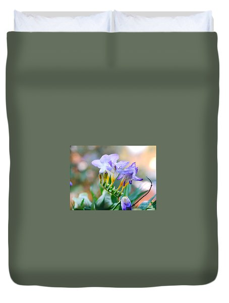 Duvet Cover featuring the photograph Just A Freesia by Lance Sheridan-Peel