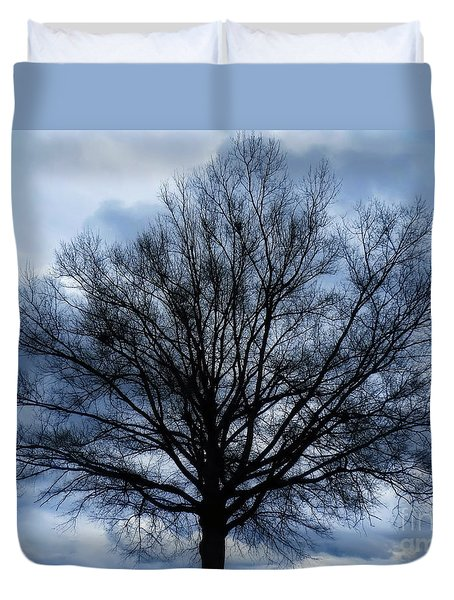 Duvet Cover featuring the photograph Just A Gray Blue Day by Sue Melvin