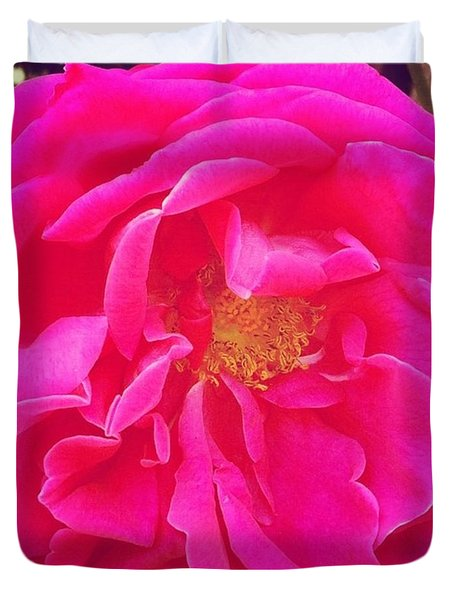 Just A Rose...#floral #flowers #pink Duvet Cover by Jennifer Beaudet