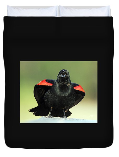 Duvet Cover featuring the photograph Just A Singing by Myrna Bradshaw