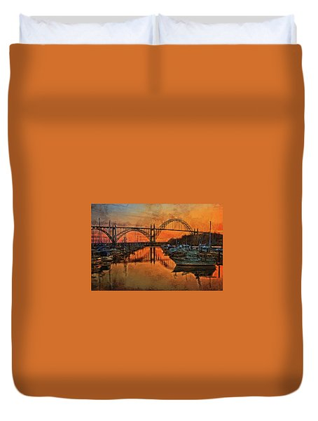 Just After Sunset On Yaquina Bay Duvet Cover
