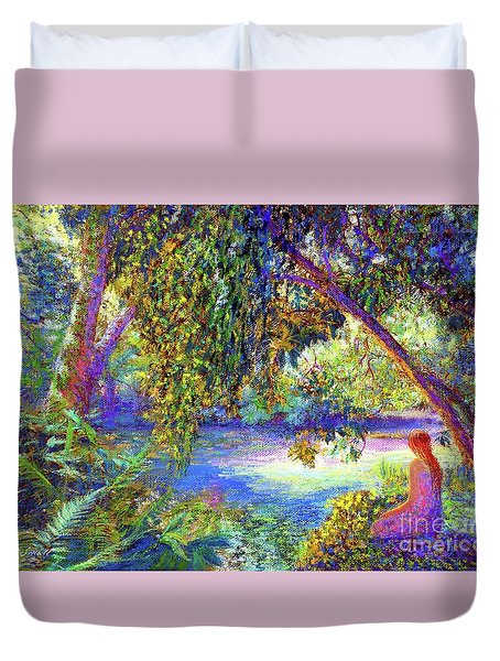 Duvet Cover featuring the painting Just Be by Jane Small