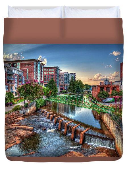 Just Before Sunset 2 Reedy River Falls Park Greenville South Carolina Art Duvet Cover