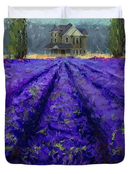 Just Beyond - Plein Air Lavender Landscape Impressionistic Painting Duvet Cover