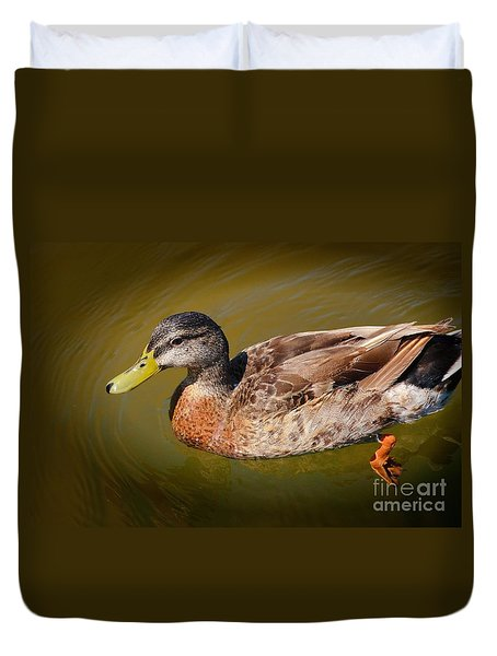 Duvet Cover featuring the photograph Just Ducky by Pamela Blizzard